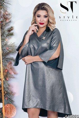 Платье Материал: Креп-костюмка с напылением; Размер на фото: XL; Параметры модели: 100-72-102; Рост модели: 163 Блестящее платье свободного кроя и трендовой асимметрией подола, способное превратить лю