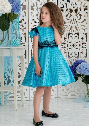 Платье в мелкий горошек бирюзовый 116 размер