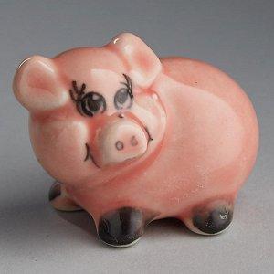 """Фигурка 3,5х4,5см """"Поросенок розовый"""" гжель (фарфор, ручная работа) ГУ-0227"""