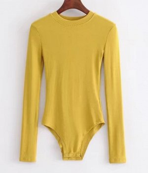 Женское боди-лонгслив желтый