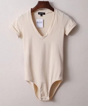 Женское боди-футболка телесное