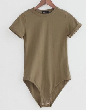 Женское боди-футболка темно коричневое