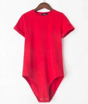 Женское боди-футболка красное