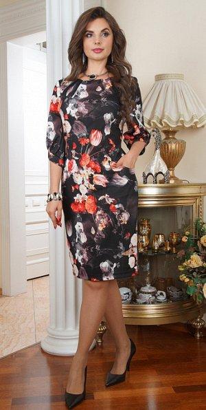 Платье для офиса и на вечер цветы