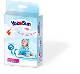 Детские одноразовые впитывающие пеленки 60*90 Yokosun с фиксацией по краям! 10 штук в упаковке
