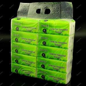 """Салфетки - выдергушки """"Берёзка"""", бумажные 260 листов в полиэтиленовой упаковке (упаковка 10 пачек)."""