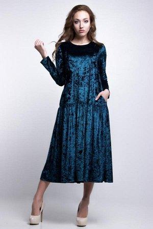 Платье  бархат  синий, размер 50-52