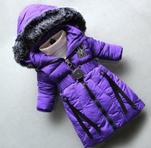Пуховик зимний фиолетовый