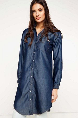 Туника Poliester 42% Lyocell(Tencel) 58% Long Sleeve Woman Tunic; Long Lenght, Normal Cut, Polo Neck, Blue Woven Conservative Tops;