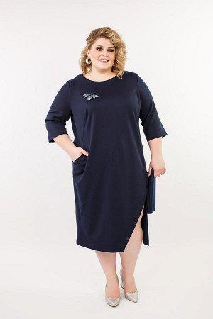"""Платье темно синее с разрезом. TM """"Jetty-plus"""" размер 56-58."""
