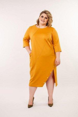 """Платье горчичное с разрезом. TM """"Jetty-plus"""" размер 54-56"""