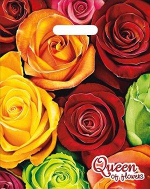 """Пакет ПВД (30х40 см) с вырубной ручкой """"Королева цветов"""" 30мкм"""