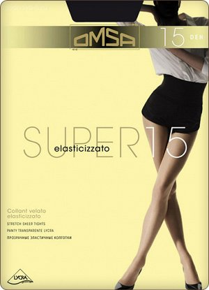 Колготки Тонкие прозрачные колготки Omsa Super с лайкрой плотностью 15 ден, с плотными штанишками и укрепленным мыском. Идеальная модель на каждый день. Состав: 92% - Полиамид, 8% - Эластан