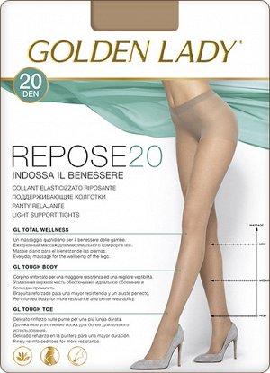 Тонкие эластичные колготки Golden Lady Repose 20 с легким поддерживающим эффектом и распределенным по ноге давлением