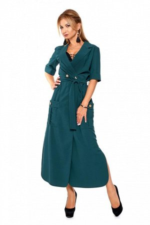Платье Цена до скидки 1310 руб! Платье представляет собой самый простой фасон с запахом – свободное в области лифа, подвязанное пояском. Пояс идёт в комплекте. Воротник пиджачного типа. Рукава до локт