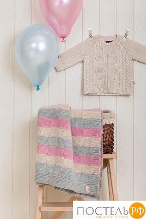Плед детский 'LUX 218', р-р: 75х100см, цвет: розовый/белый/серый