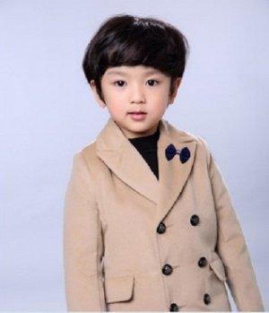 Пальто Пальто, оформленное длинными рукавами цвет: ХАКИ, смесь хлопка/смесь шерсти. Размер=рост, см: 90,100,110,120,130,140