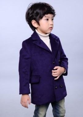 Пальто Пальто, оформленное длинными рукавами цвет: СИНИЙ, смесь хлопка/смесь шерсти. Размер=рост, см: 90,100,110,120,130,140