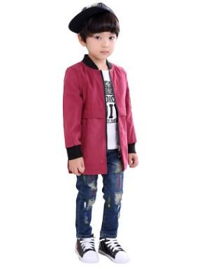 Пальто Пальто, оформленное длинными рукавами цвет: КРАСНЫЙ, смесь хлопка/полиэстер. Размер=рост, см: 90,100,110,120,130,140