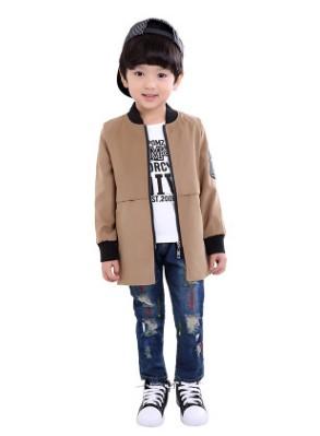 Пальто Пальто, оформленное длинными рукавами цвет: ХАКИ, смесь хлопка/полиэстер. Размер=рост, см: 90,100,110,120,130,140