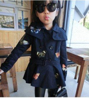Пальто Пальто, оформленное длинными рукавами цвет: СИНИЙ, смесь хлопка. Размер=рост, см: 90,100,110