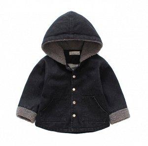Джинсовая куртка с утеплителем на капюшоне и рукавах с длинными рукавами цвет: ЧЕРНЫЙ