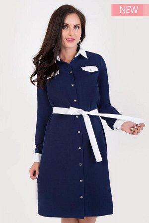 Платье Классическое сочетания синего и белого в платье рубашке - прекрасный вариант как для офиса, так и на каждый день!  Ряд кнопок и пояс позволят менять образ от строгого к игривому.  Рост модели 1