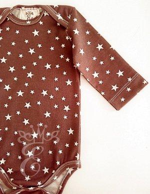 """Боди Боди цвет какао с длинным рукавом Звездочки 962-Бдк Боди с длинным рукавом с принтом """"звездочки"""" можно использовать как для дома, так и на выход. Боди застегивается на кнопки по низу, что упрощае"""