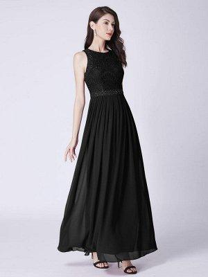 Шикарное вечернее черное платье с кружевной отделкой