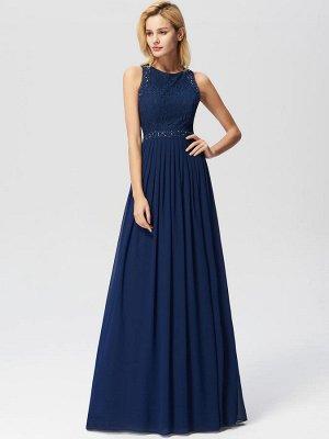Шикарное вечернее темно-синее платье с кружевной отделкой