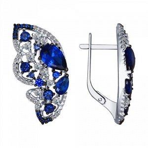 94022457 - Серьги из серебра с бесцветными и синими фианитами