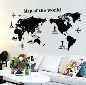 Наклейка карта мира Америка