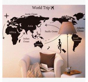 Наклейка карта мира Африка/Азия