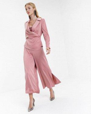 Элегантный атласный пиджак цвет пыльная роза