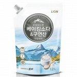 LION Средство для мытья посуды Chamgreen с содой и лимонной кислотой, мягкая уп, 1200 гр