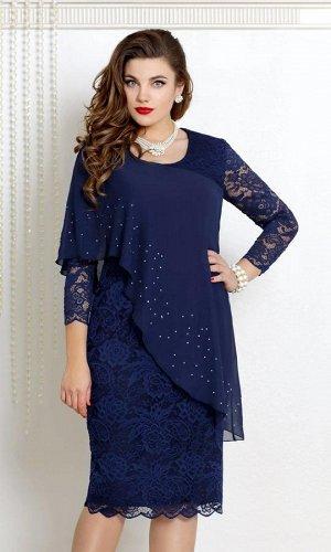 Платье Платье Vittoria Queen 9073/4 синий Состав ткани: Спандекс-2%; Нейлон-98%; Рост: 164 см.  Чудесный наряд по любому поводу! Платье полуприлегающего силуэта из мягкого, но прочного гипюра на подкл