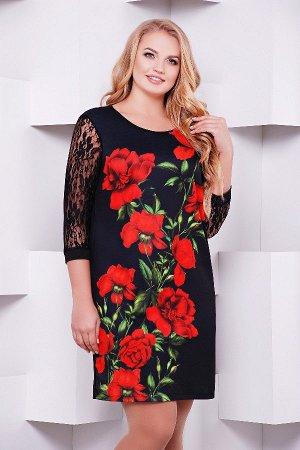Алые розы платье Гардена-2Б д/р (принт)