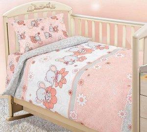 Постельное белье Бязь Детство в кроватку - Слоники