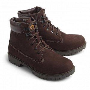 Ботинки зимние мужские, коричневый нубук