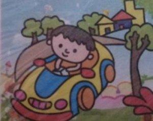 """Аппликация с фольгой """"Мальчик на машине"""""""