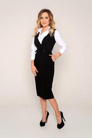 """САРАФАН Ткань костюмная, тонкая, """"барби"""" с хорошим стрейчевым эффектом (тянется). Элегантный чёрный офисный сарафан прилегающего силуэта с классическим наклонным боковым карманом и съёмным дизайнерски"""