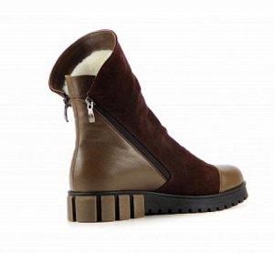 Ботинки замша/кожа коричневый демисезон