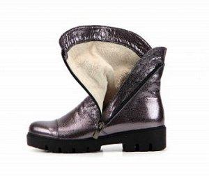 Ботинки кожа никель демисезон