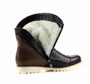 Ботинки кожа коричневый комбинированный демисезон