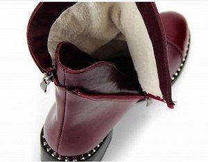 Ботинки натуральная кожа бордо/лак