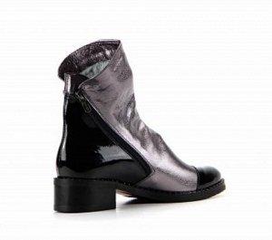Ботинки кожа никель/черный лак демисезон