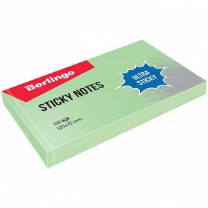 """Самоклеящийся блок Berlingo """"Ultra Sticky"""", 125*75мм, 100л, пастель, зеленый"""