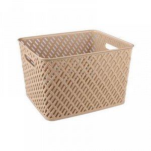 Корзина Корзина   350*290*225мм [ПЛЕТЁНКА] БЕЖЕВЫЙ.Корзина предназначена для хранения мелочей в ванной, на кухне, на даче или в гараже. Данное изделие позволит хранить мелкие вещи, исключая возможност