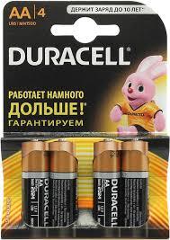 Батарейки Duracell AA, 4 шт в уп.