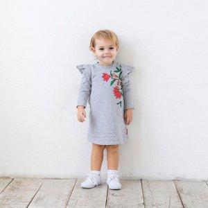 Платье для девочки, серый меланж